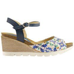 Rzymianki damskie: Skórzane sandały w kolorze biało-niebieskim
