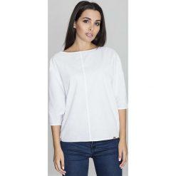 Biała Bluzka z Rozcięciem na Rękawach. Białe bluzki asymetryczne Molly.pl, l, w jednolite wzory, z tkaniny, biznesowe, z asymetrycznym kołnierzem, z krótkim rękawem. Za 125,90 zł.