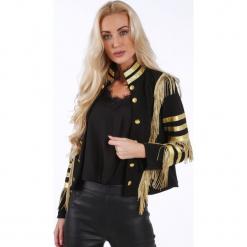 Czarna marynarka ze złotymi frędzlami elegancka 0220. Czarne marynarki i żakiety damskie marki Fasardi, l, eleganckie. Za 199,00 zł.