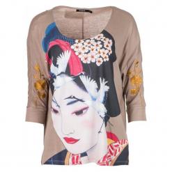 Desigual T-Shirt Damski Madame Butterfly M Beżowy. Brązowe t-shirty damskie Desigual, l. Za 299,00 zł.
