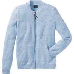 Sweter rozpinany Regular Fit bonprix perłowy niebieski - biały melanż. Niebieskie kardigany męskie marki bonprix, m, z haftami. Za 49,99 zł.