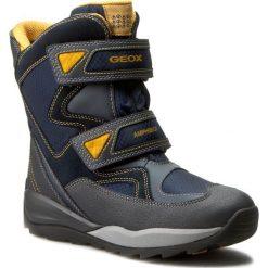 Buty zimowe chłopięce: Śniegowce GEOX – J Orizont B Abx C J640BC 0FU22 C4054 D Morski/Zółty