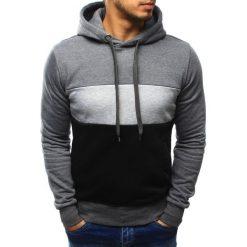 Bluzy męskie: Bluza męska w pasy z kapturem antracytowa (bx3191)
