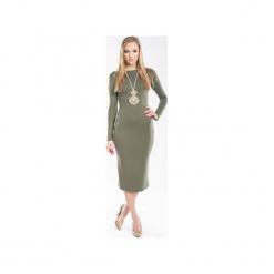 Dopasowana sukienka w kolorze khaki SL2148. Zielone sukienki dzianinowe marki Soleil, na co dzień, xs, z dekoltem w łódkę, dopasowane. Za 98,00 zł.