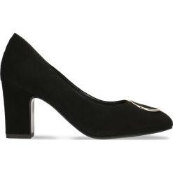 Czółenka LENA. Czarne buty ślubne damskie Gino Rossi, ze lnu, na wysokim obcasie, na słupku. Za 224,95 zł.
