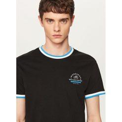 T-shirty męskie: T-shirt z ozdobnymi ściągaczami – Czarny