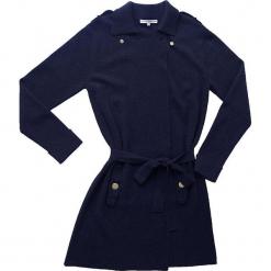 Płaszcz kaszmirowy w kolorze granatowym. Niebieskie płaszcze damskie wełniane Ateliers de la Maille, w paski. W wyprzedaży za 1046,95 zł.