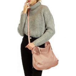 AMANDA - skórzana wygodna torebka Róż. Czerwone torebki klasyczne damskie FURRINI, w paski. Za 249,00 zł.
