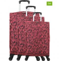 """Walizki (3 szt.) """"Lulu Cactus"""" w kolorze różowym. Czarne walizki marki Jack Wolfskin, w paski, z materiału, małe. W wyprzedaży za 673,95 zł."""