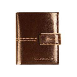 Portfele męskie: Skórzany portfel w kolorze brązowym – (S)10 x (W)9 cm