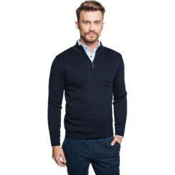 Sweter lennox troyer granatowy. Szare swetry klasyczne męskie marki Recman, m, z kołnierzem typu troyer. Za 249,00 zł.