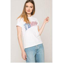 Tommy Jeans - Top. Szare topy damskie marki Tommy Jeans, l, z nadrukiem, z bawełny, z okrągłym kołnierzem. W wyprzedaży za 119,90 zł.