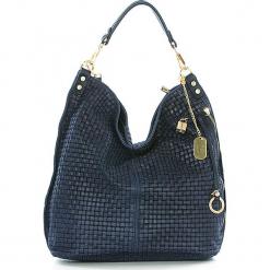 Skórzana torebka w kolorze granatowym - 42 x 38 x 17 cm. Niebieskie torebki klasyczne damskie Anna Morellini, w paski, z materiału. W wyprzedaży za 347,95 zł.