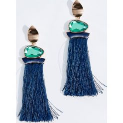 Kolczyki damskie: Długie kolczyki z frędzlami – Granatowy