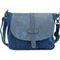 """Torebki klasyczne damskie: Skórzana torebka """"Lucinda"""" w kolorze niebieskim – 27 x 24 x 7 cm"""