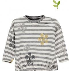 Bluza w kolorze szarym. Szare bluzy dziewczęce rozpinane marki bellybutton, w paski, z bawełny. W wyprzedaży za 42,95 zł.