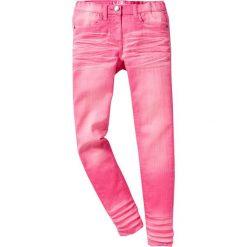 """Spodnie SKINNY """"used"""" bonprix różowy flaming. Białe rurki dziewczęce marki FOUGANZA, z bawełny. Za 44,99 zł."""