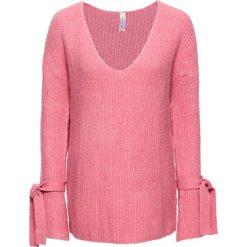 Swetry klasyczne damskie: Sweter dzianinowy bonprix jasnoróżowy melanż