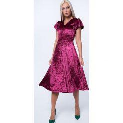 Sukienka MIDI z gniecionego weluru bordowa MP60286. Czerwone sukienki marki Fasardi, l, z weluru, midi. Za 69,00 zł.