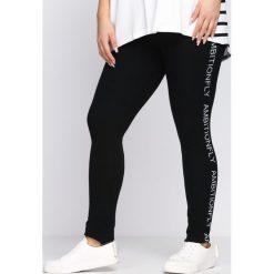 Spodnie damskie: Czarne Legginsy Sporty Star