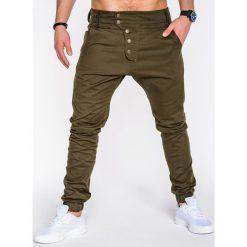SPODNIE MĘSKIE JOGGERY P480 - ZIELONE. Zielone joggery męskie Ombre Clothing, z bawełny. Za 84,00 zł.