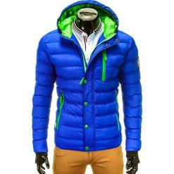 KURTKA MĘSKA ZIMOWA PIKOWANA C124 - NIEBIESKA. Niebieskie kurtki męskie pikowane marki Ombre Clothing, na zimę, m, z nylonu. Za 149,00 zł.