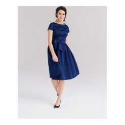 Sukienki: Sukienka Melia granatowa z krótkim rękawem (niższa talia) 32