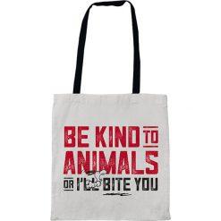 """Shopper bag damskie: Torba """"Be Kind To Animals"""" w kolorze biało-czerwonym na zakupy – 35 x 40 cm"""