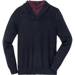 Sweter z koszulową wstawką Regular Fit bonprix ciemnoniebieski. Niebieskie swetry klasyczne męskie marki bonprix, l, z koszulowym kołnierzykiem. Za 129,99 zł.