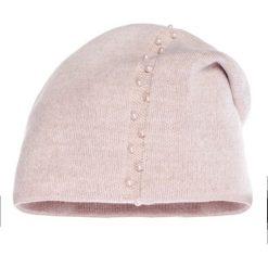 Czapki damskie: Jasnoróżowa czapka z perełkami QUIOSQUE