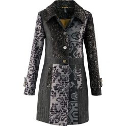 Płaszcz w żakardowy wzór bonprix czarno-kolorowy. Czarne płaszcze damskie bonprix, w kolorowe wzory, z materiału. Za 299,99 zł.