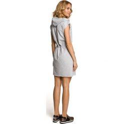 JULIET Mini sukienka dresowa z kapturem - szara. Szare sukienki dresowe marki bonprix, melanż, z kapturem, z długim rękawem, maxi. Za 136,99 zł.