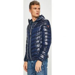 Guess Jeans - Kurtka. Szare kurtki męskie jeansowe marki Guess Jeans, l, z aplikacjami, z kapturem. Za 729,90 zł.