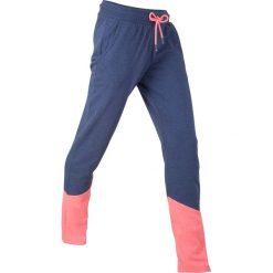 Spodnie dresowe, długie, z kolekcji Maite Kelly, Level 1 bonprix kobaltowo-łososiowy neonowy melanż. Niebieskie spodnie sportowe damskie marki bonprix, z dresówki, na fitness i siłownię. Za 74,99 zł.