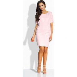 Sukienki: Klasyczna sukienka z gumkami pudrowy róż