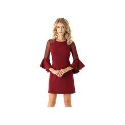 Sukienka szerokimi rękawami i tiulowymi wstawkami bordowa ED021-5. Czarne sukienki rozkloszowane marki Ella dora, xl, w koronkowe wzory, z koronki, z falbankami. Za 204,00 zł.