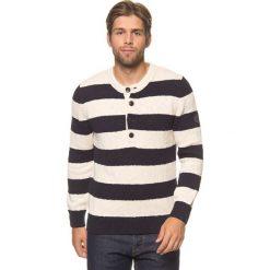 Swetry klasyczne męskie: Sweter w kolorze kremowo-czarnym