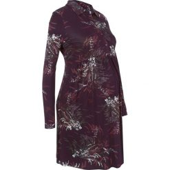 Sukienka shirtowa ciążowa i do karmienia bonprix bordowy z nadrukiem. Czerwone sukienki ciążowe bonprix, z nadrukiem, ze stójką. Za 129,99 zł.