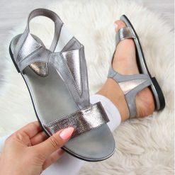 Rzymianki damskie: Sandały damskie wsuwane srebrne Jezzi