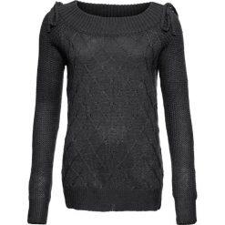 Swetry klasyczne damskie: Sweter bonprix antracytowy melanż