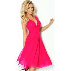 Sukienki: Różowa Sukienka Wieczorowa z Szyfonu z Dekoltem V