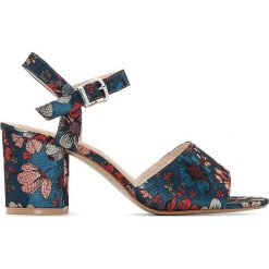 Rzymianki damskie: Sandały z naszywanymi kwiatami, szeroka pięta 38-45