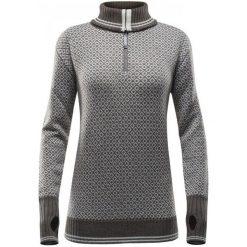 Devold Sweter Slogen Woman Zip Neck Tobacco/Offwhite L. Szare swetry klasyczne damskie marki Devold, l, z wełny. W wyprzedaży za 349,00 zł.