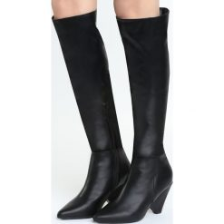 Czarne Kozaki Turned Off. Białe buty zimowe damskie marki Reserved, na wysokim obcasie. Za 169,99 zł.