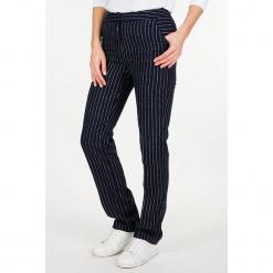 """Lniane spodnie """"Linray"""" w kolorze granatowo-białym. Niebieskie spodnie z wysokim stanem Scottage, w paski, ze lnu. W wyprzedaży za 86,95 zł."""