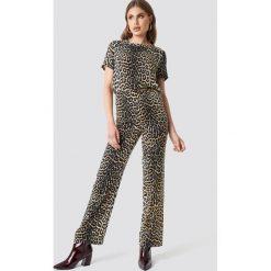 Spodnie damskie: Moves x NA-KD Spodnie Vissa - Brown,Multicolor