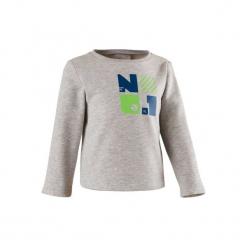Bluza do gimnastyki 100 dla maluchów. Szare bluzy niemowlęce marki DOMYOS, z nadrukiem, z bawełny. Za 19,99 zł.