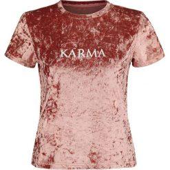 Fashion Victim Karma Velvet Tee Koszulka damska różowy. Czerwone bluzki asymetryczne Fashion Victim, xxl, z napisami. Za 74,90 zł.
