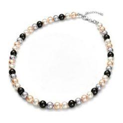 Naszyjniki damskie: Naszyjnik z pereł w kolorze biało-czarno-szaro-łososiowym – dł. 43 cm