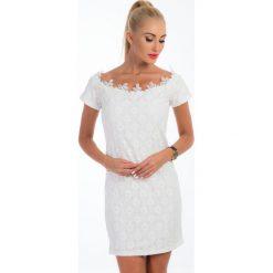 Sukienki: Kremowa elegancka koronkowa sukienka TA6164